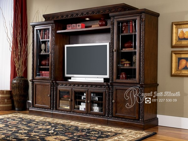 Bufet TV Set Almari Klasik Jati Mewah