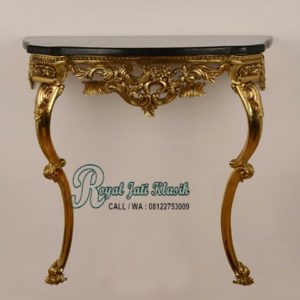Meja Konsol Gold Ukir Royal Jati Klasik