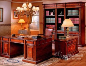 Set Meja Kantor Direktur Jati Solid Luxury