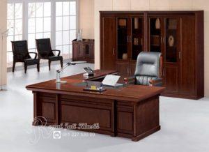 Set Meja Kantor Direktur Mewah Royal Jati Klasik