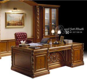 Set Meja Kantor Direktur Ukir Jati Mewah