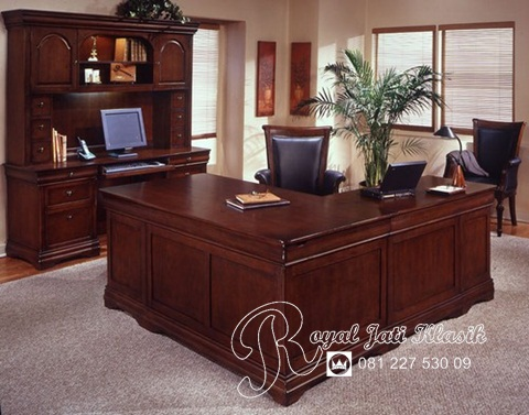 Set Meja Kantor Sudut Minimalis Jati Modern