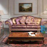 Kursi Sofa Tamu Klasik Ukir Duco Emas Purple