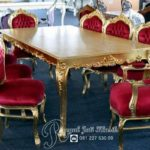 Set Meja Makan Royal Baroque Ukir Gold