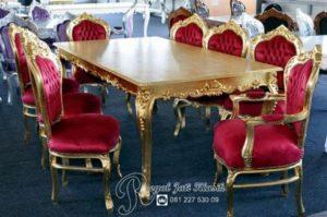 Set Meja Makan Royal Baroque Ukir Gold