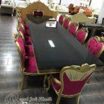 Set Meja Makan Royal Jati Klasik Golden