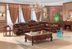 Kursi Sofa Tamu Sudut Jati Royal Ukir Klasik