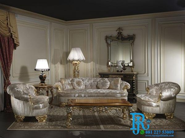 Kursi Sofa Tamu Ukir Gold King Royal