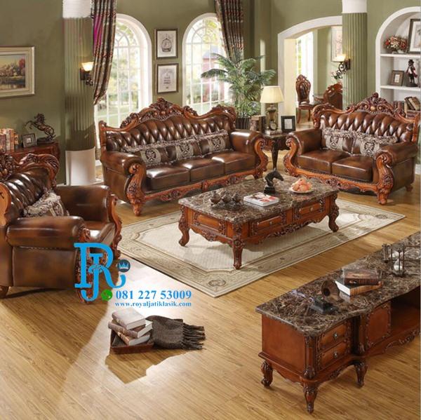 Set Sofa Tamu Eropa Luxury Kombinasi Ukir Klasik