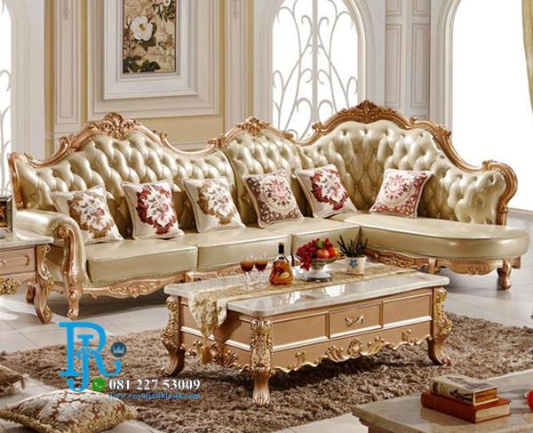 Set Sofa Tamu Gold Ukir Mewah Purple