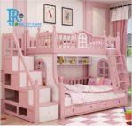 Ranjang Anak Tingkat Model Tangga Pink