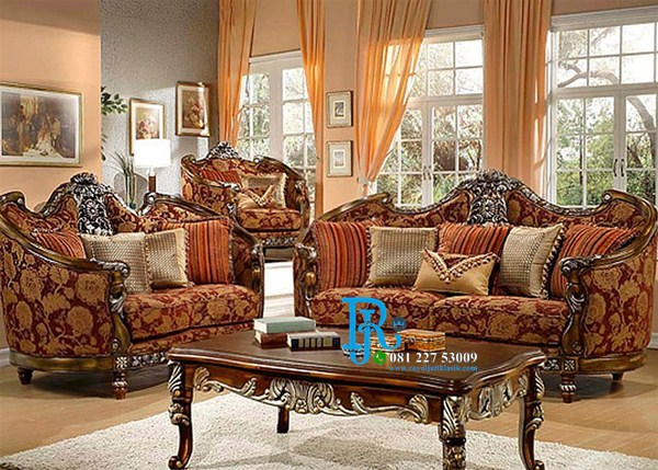 Set Sofa Tamu Jati Ukir Mewah Natural