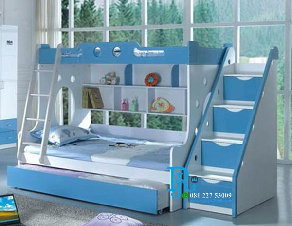 Tempat Tidur Tingkat Anak Perempuan Duco Biru
