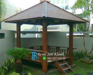 Gazebo Kayu Glugu Taman Rumah Modern