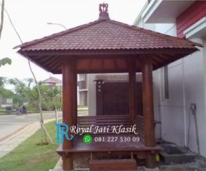 Gazebo Minimalis Atap Sirap Kayu Kelapa