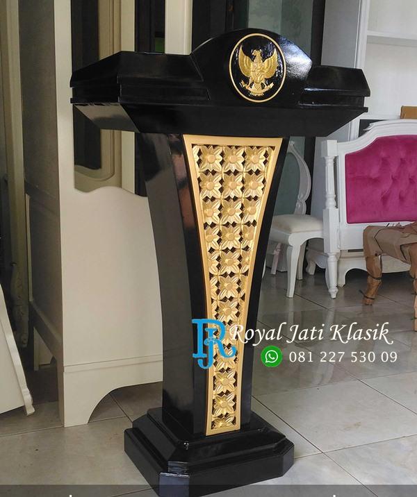 Mimbar Podium Jati Ukir Garuda Emas