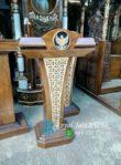 Podium Pidato Minimalis Jati Ukir Garuda