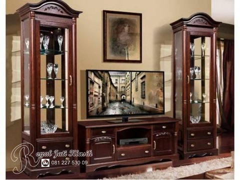 Set Bufet Tv Jati Ukir Napoleon Royal