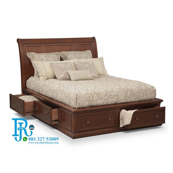 Tempat Tidur Minimalis Modern Kayu Jati
