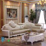 Set Sofa Tamu L Ukir Mewah Duco Putih
