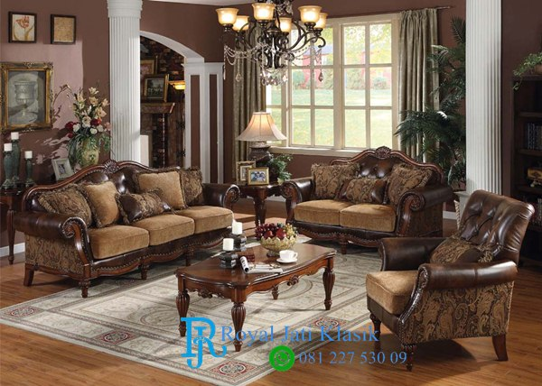 Set Sofa Tamu Klasik Royal Jati Chenille