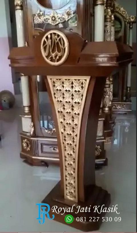 Podium Ceramah Kayu Jati Ukir Emas
